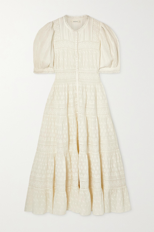 DÔEN Rolande tiered embroidered organic cotton-voile midi dress