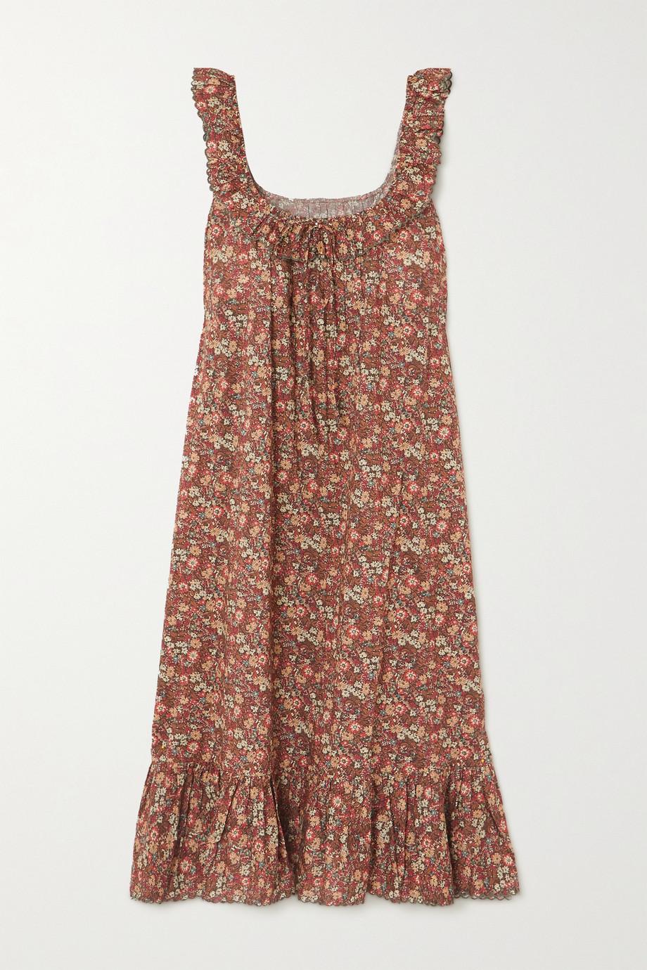 DÔEN Nymphea ruffled floral-print cotton midi dress