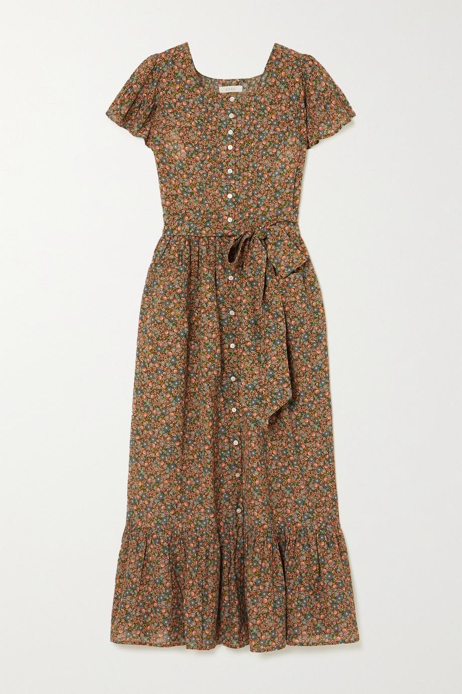 DÔEN Marfa belted floral-print organic cotton-blend midi dress