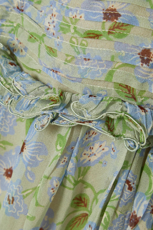 DÔEN Robe longue en georgette de soie à imprimé fleuri et à volants Drew