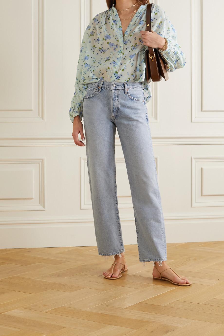 DÔEN Jane floral-print organic cotton-voile blouse