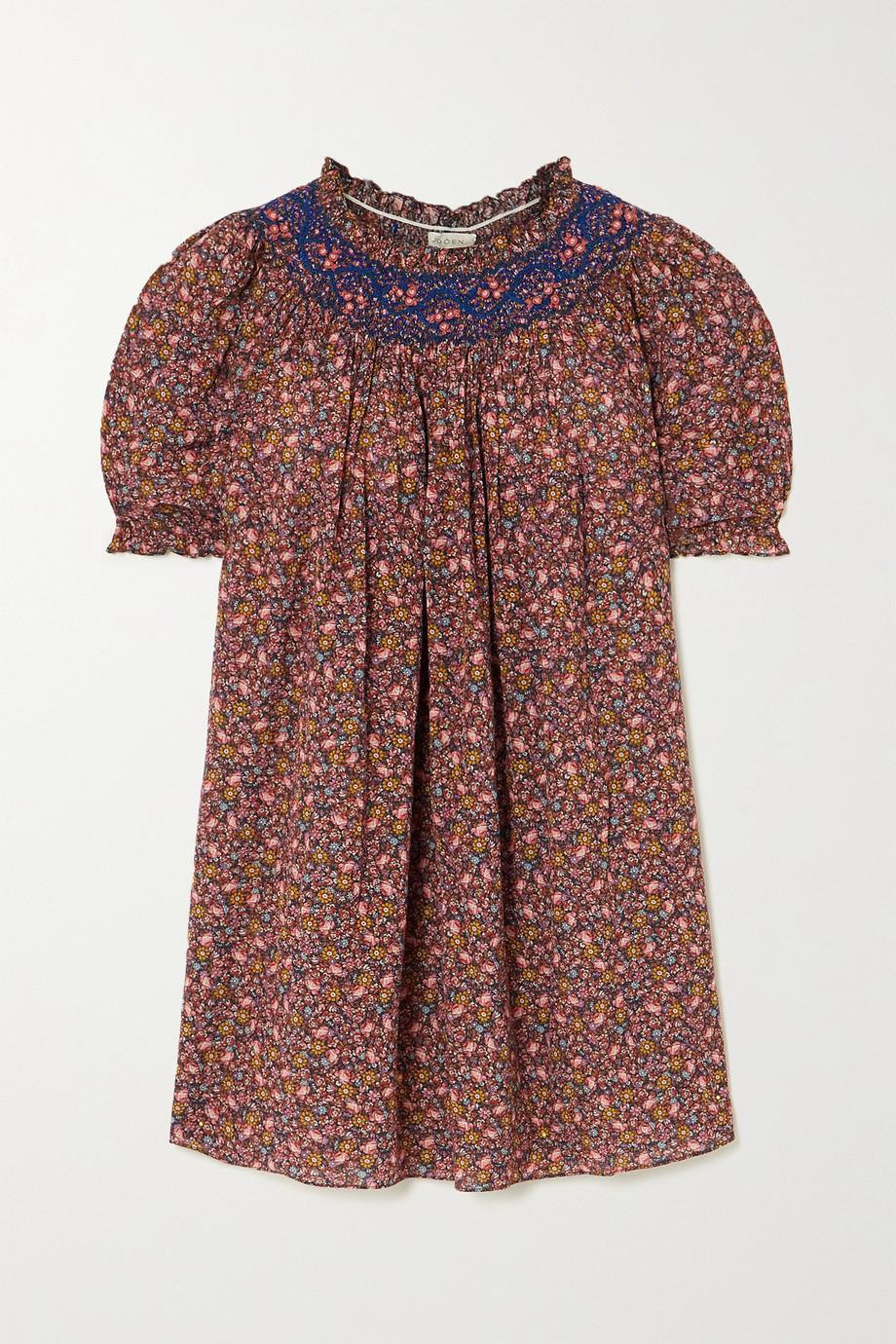 DÔEN Mini-robe en coton biologique mélangé à imprimé fleuri et à smocks Odessa
