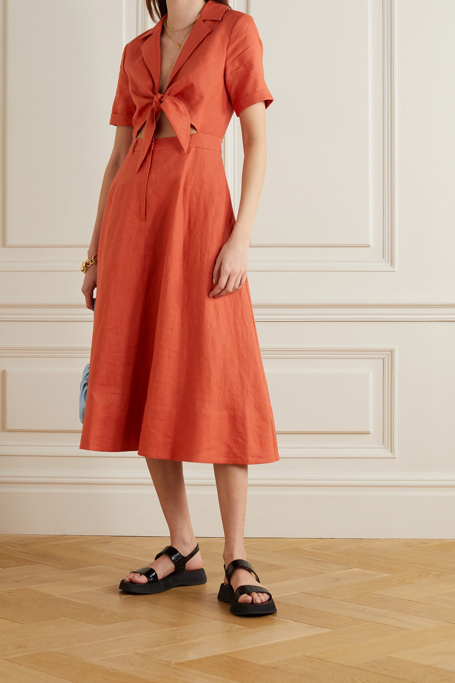 STAUD Giorgiana cutout linen midi dress