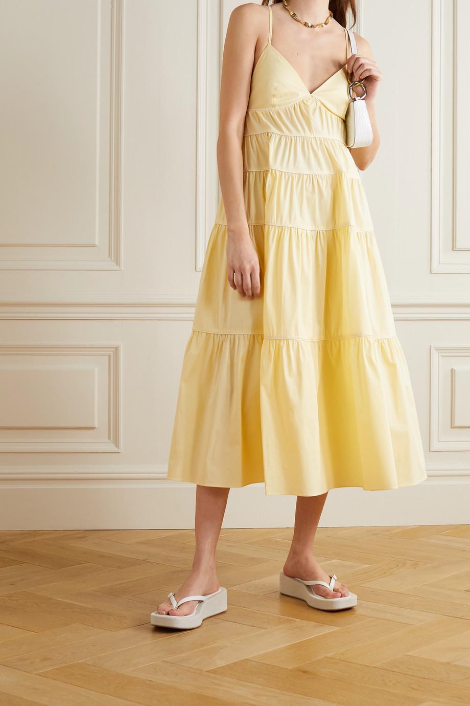 STAUD Cleo tiered stretch-cotton midi dress