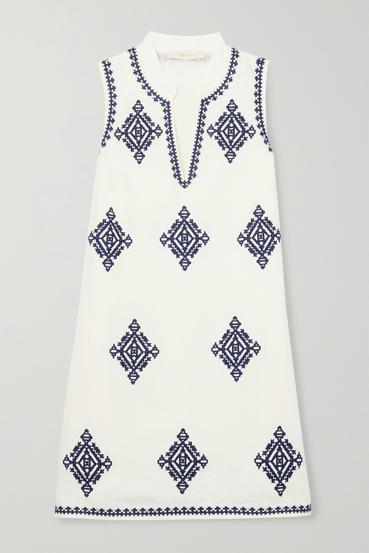Tory Burch Celeste embroidered linen-blend mini dress