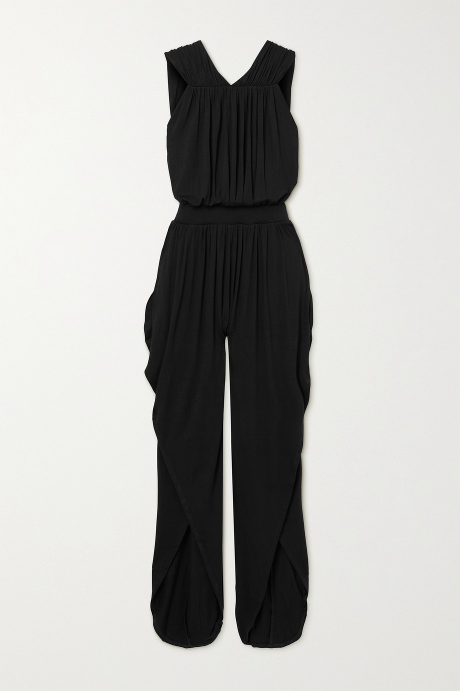 Marika Vera Combi-pantalon en jersey stretch à dos ouvert et à drapés