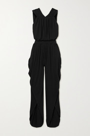 Marika Vera Open-back draped stretch-jersey jumpsuit