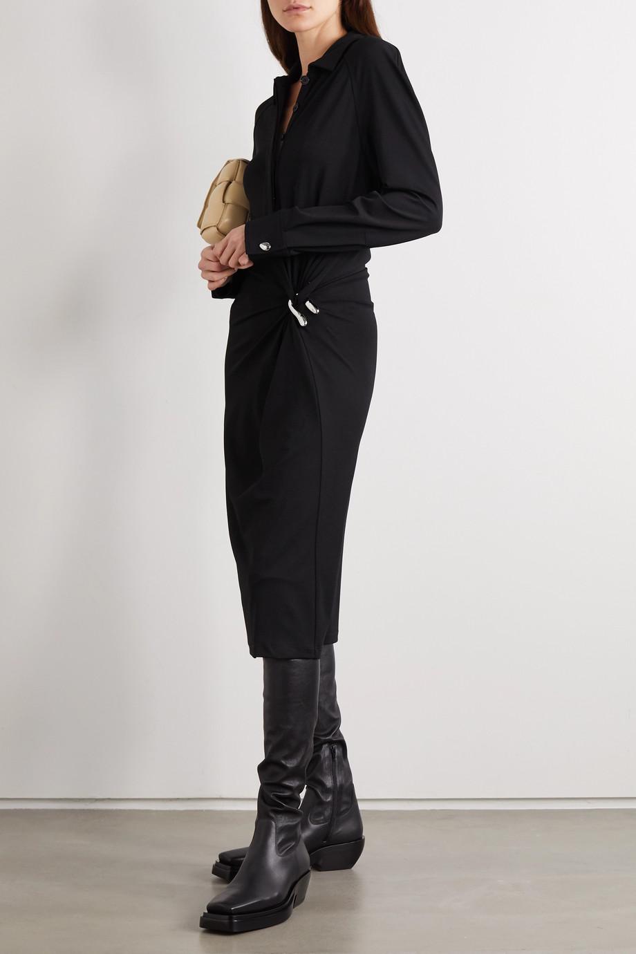 Bottega Veneta Verziertes Midikleid aus Stretch-Jersey mit Raffung