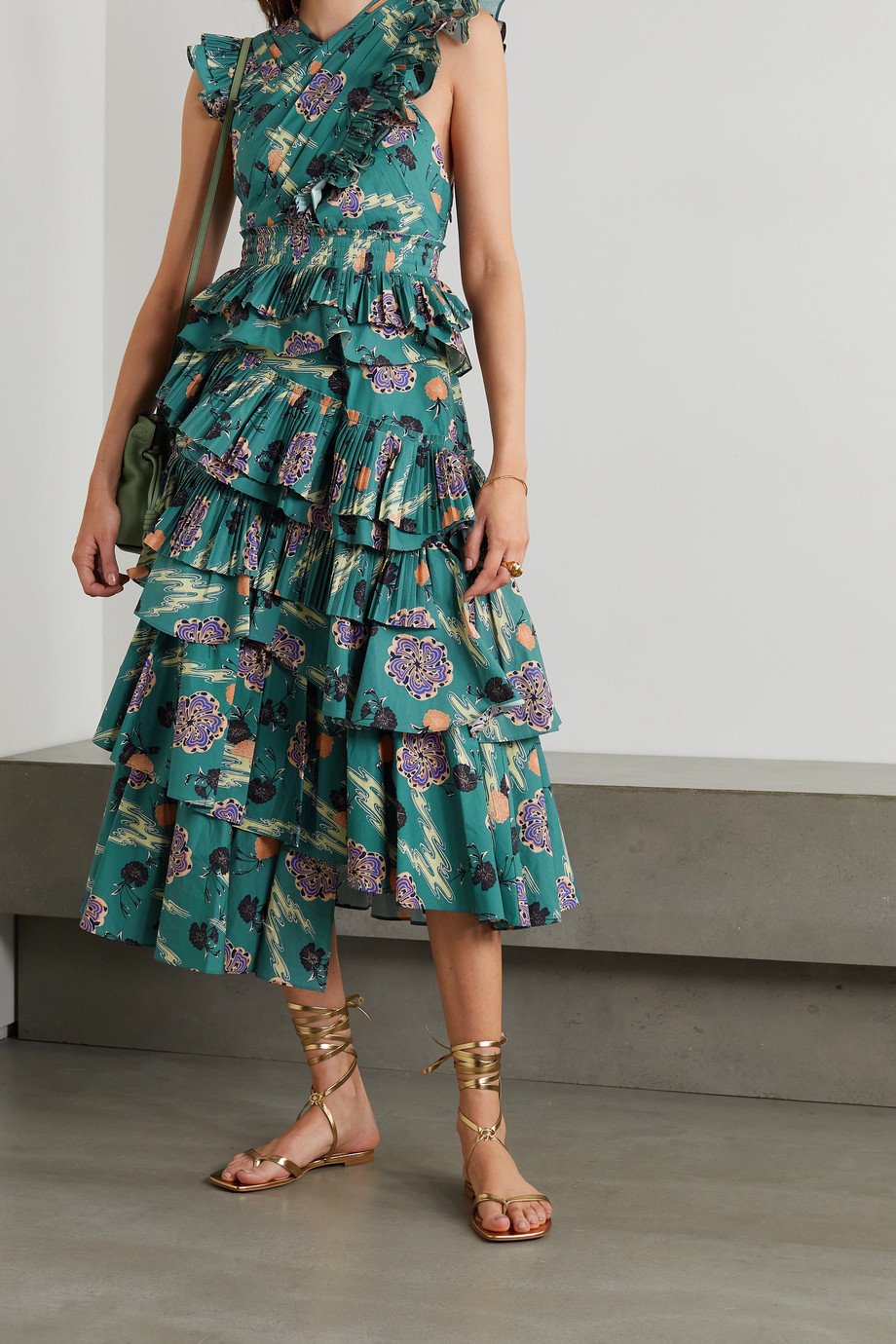 Ulla Johnson Aurore tiered floral-print cotton-poplin dress