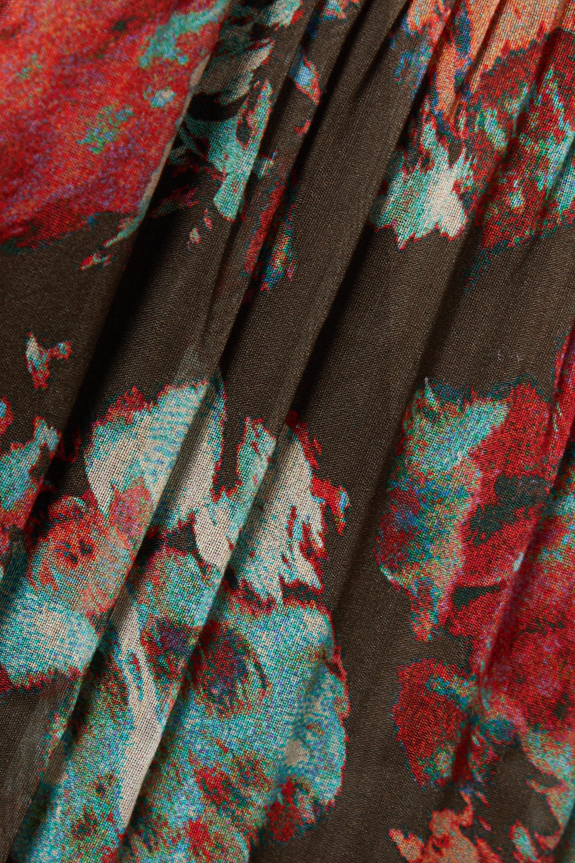 Ulla Johnson Loraine gestuftes Midikleid aus einer Baumwoll-Seidenmischung mit Blumenprint und Biesen