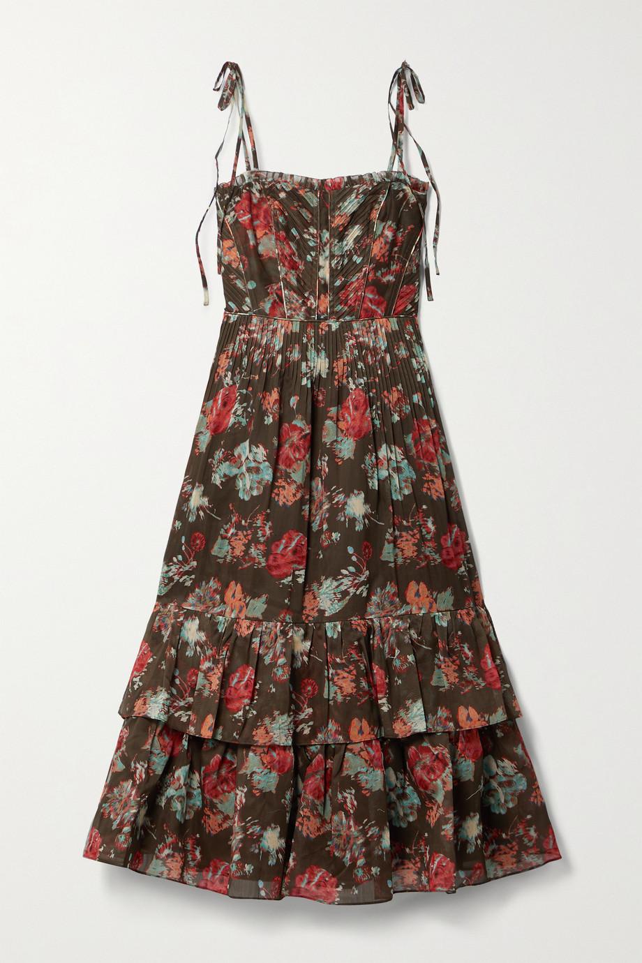 Ulla Johnson Robe midi en coton et soie mélangés à plis, imprimé fleuri et volants Loraine