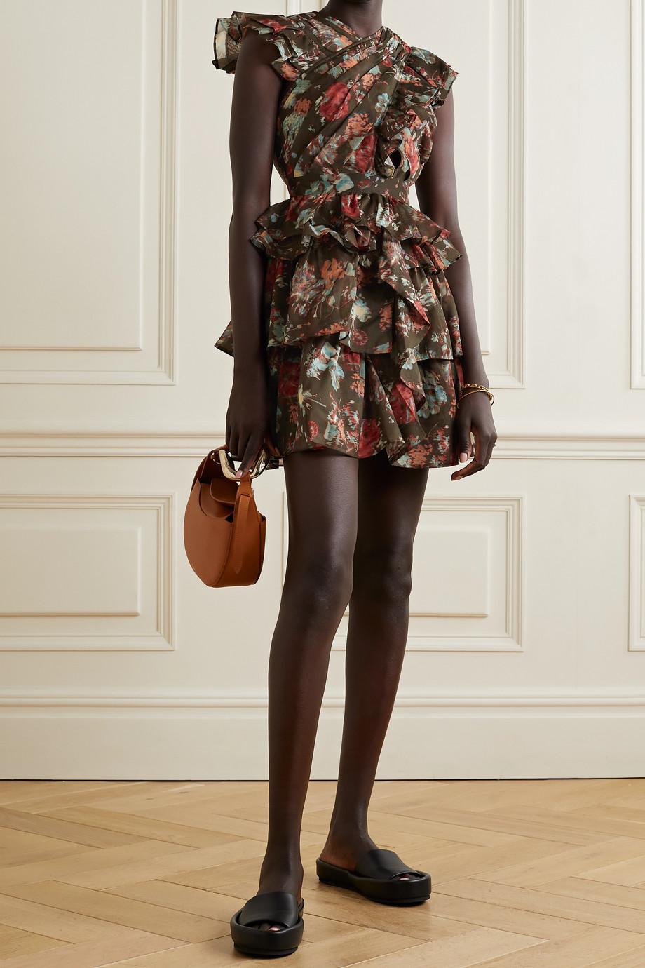 Ulla Johnson Mini-robe en coton et soie mélangés à plis, imprimé fleuri et volants Sarafina
