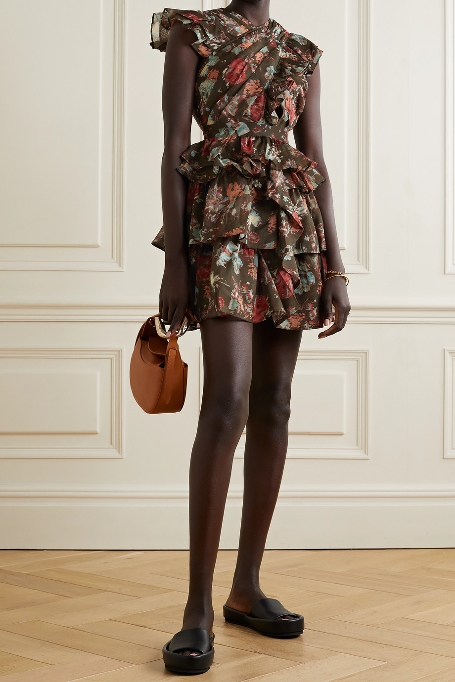 Ulla Johnson Sarafina tiered pleated floral-print cotton and silk-blend mini dress