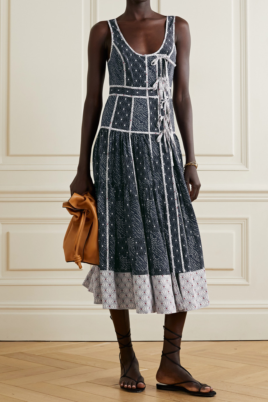 Ulla Johnson Keira tie-detailed printed satin-crepe midi dress