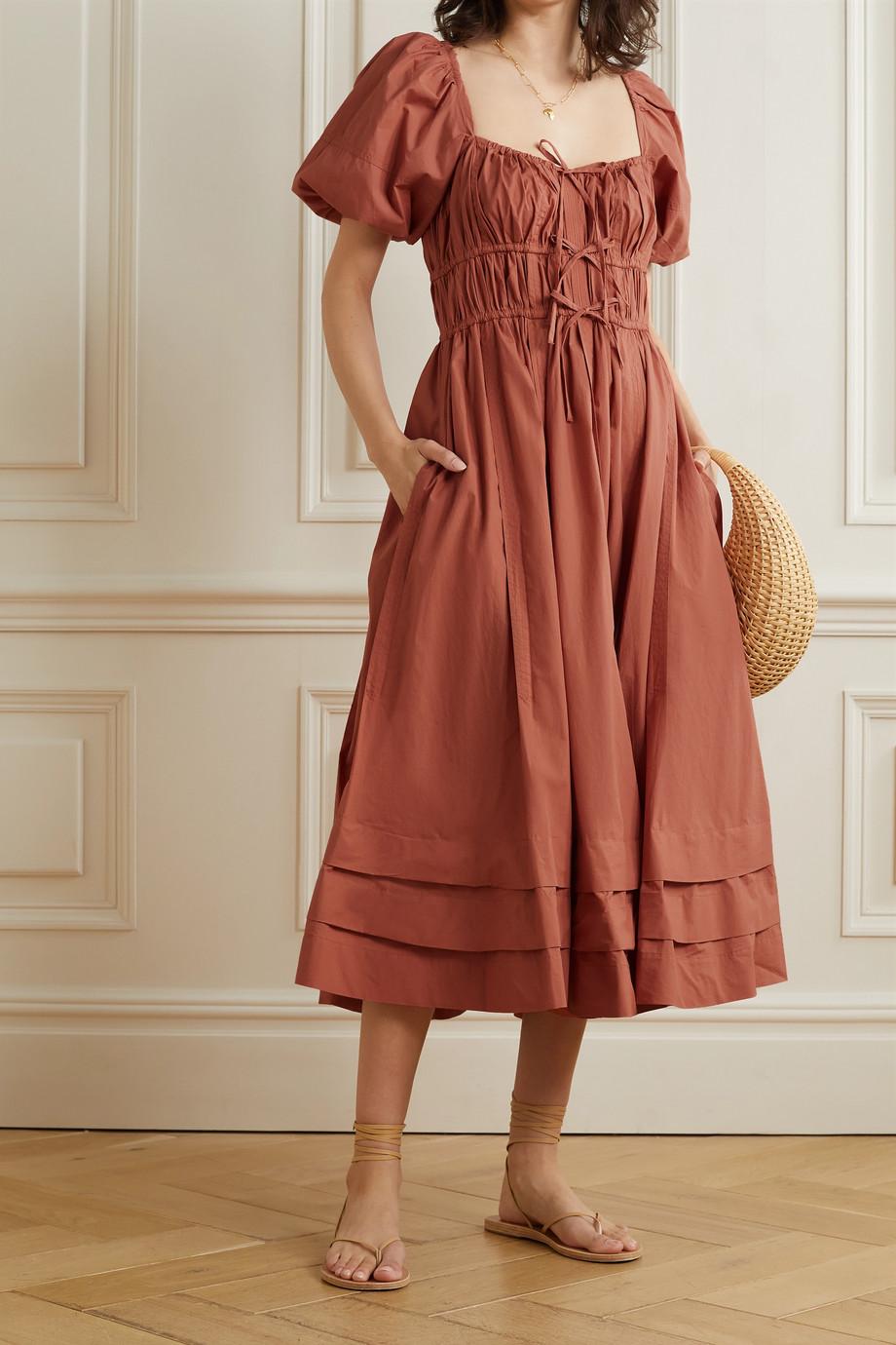 Ulla Johnson Palma tie-detailed gathered cotton-poplin midi dress