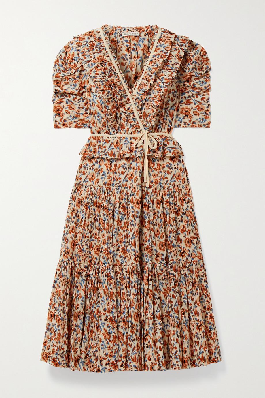 Ulla Johnson Lisette Midi-Wickelkleid aus Baumwollkrepon mit Blumenprint und Rüschen