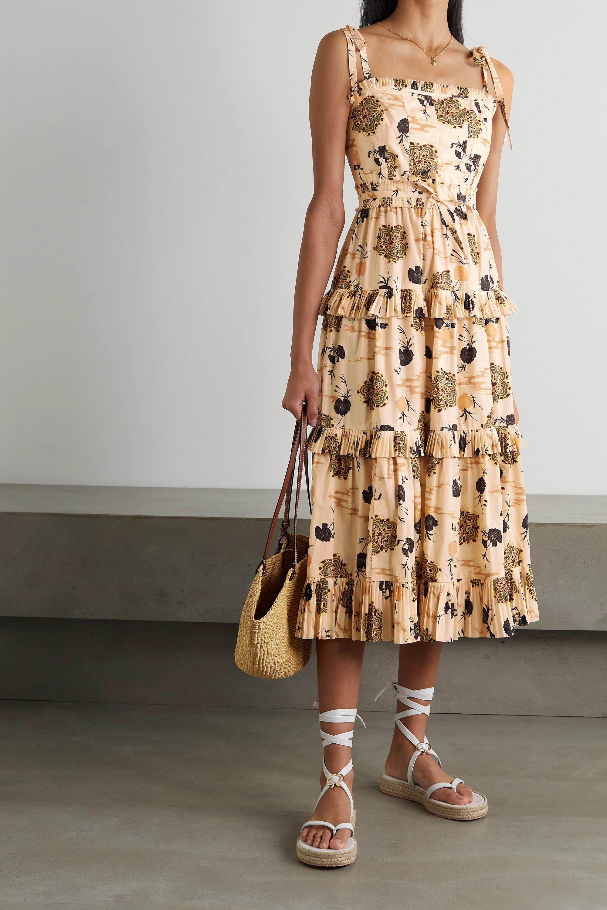 Ulla Johnson Lune tiered printed cotton midi dress