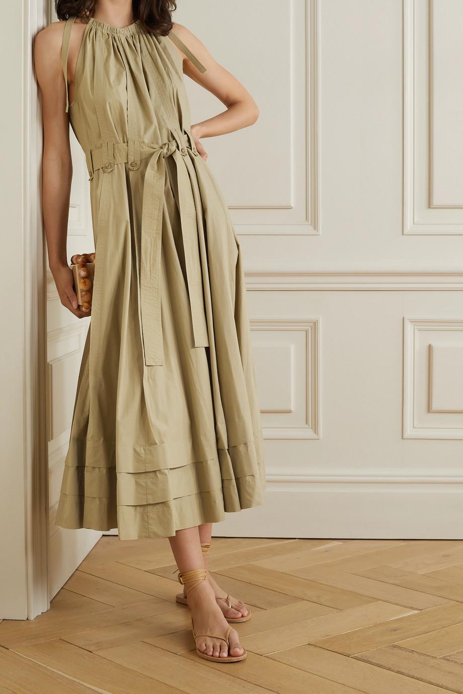 Ulla Johnson Joni tie-detailed belted cotton-poplin midi dress
