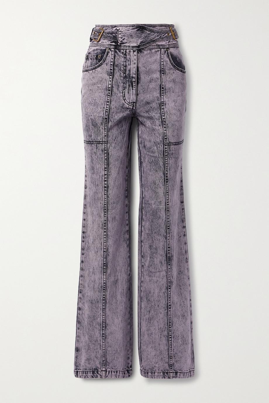 Ulla Johnson Albie belted acid-wash high-rise wide-leg jeans