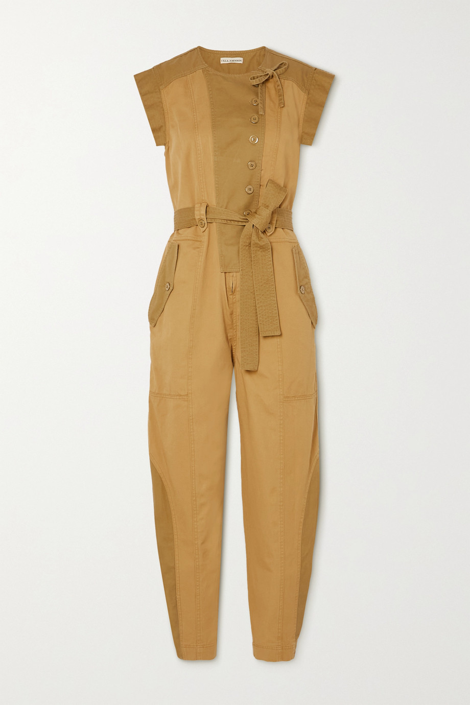 Ulla Johnson Valentine belted patchwork cotton-twill jumpsuit