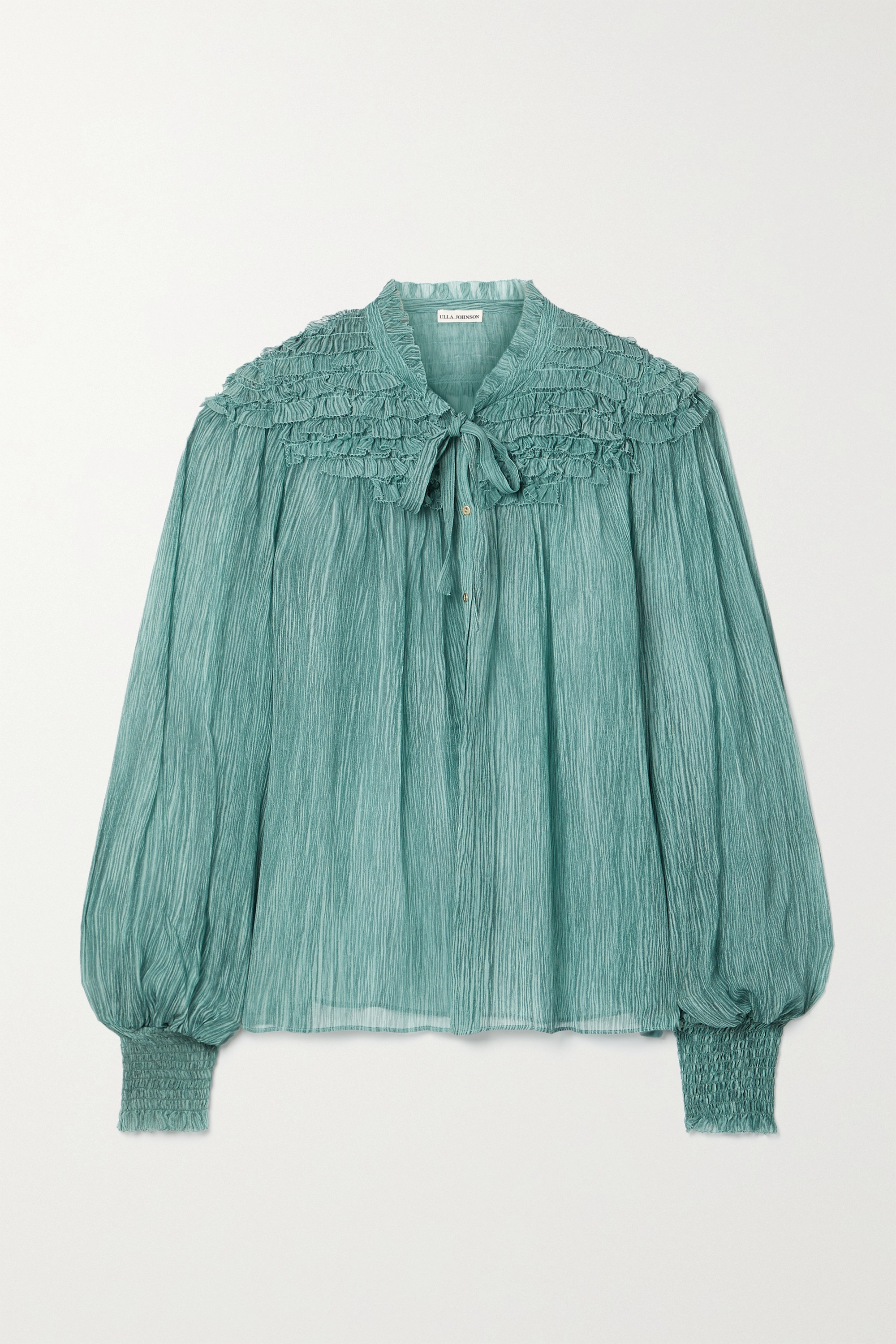 Ulla Johnson Eloise tie-neck ruffled silk-crepon blouse