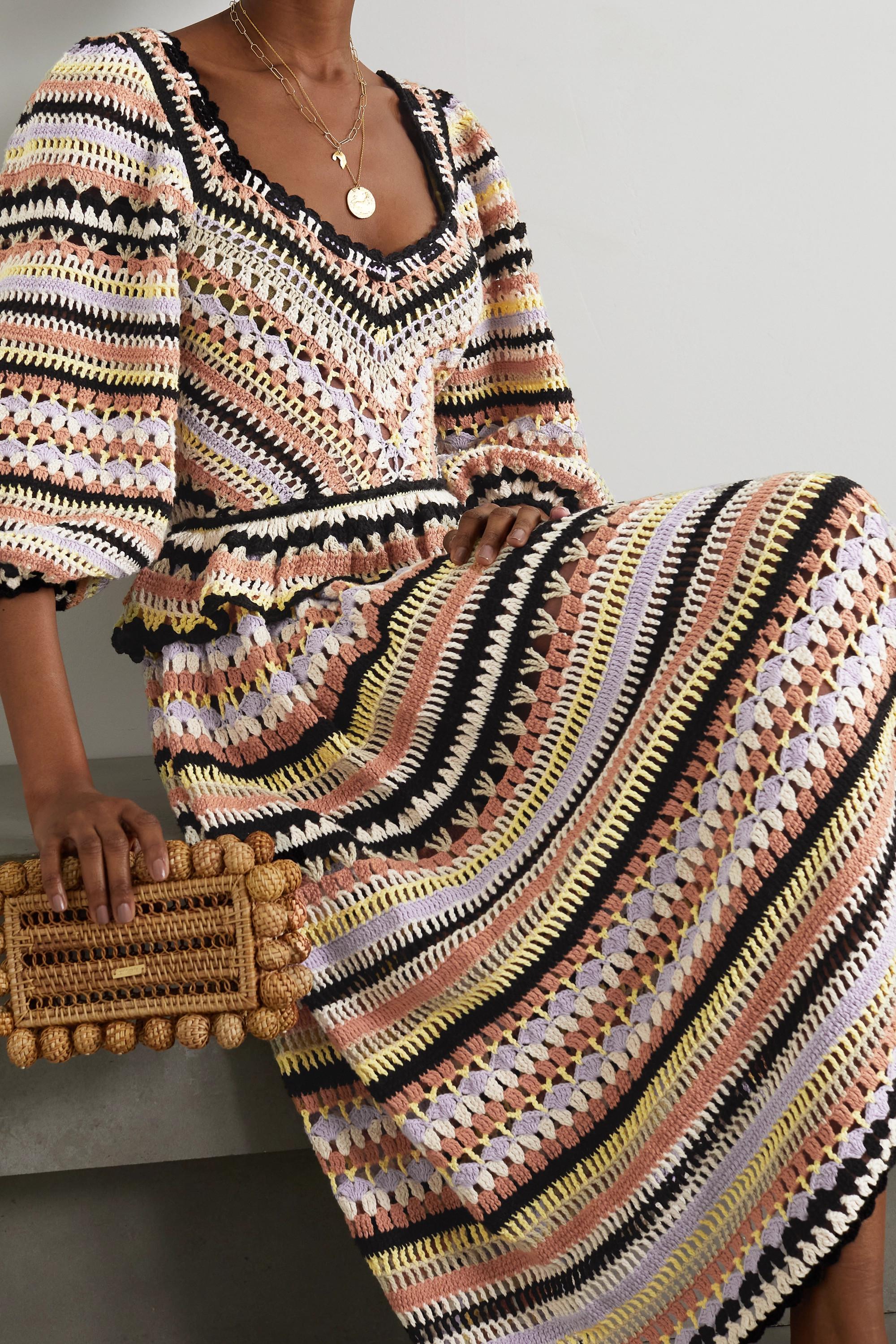 Ulla Johnson Delfina gestreiftes Midikleid aus gehäkelter Baumwolle