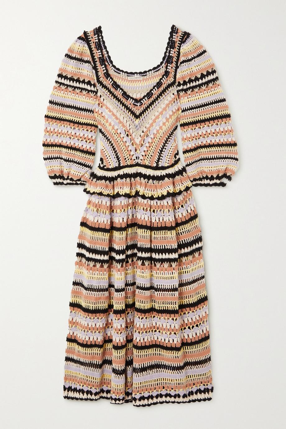 Ulla Johnson Robe midi en coton crocheté à rayures Delfina
