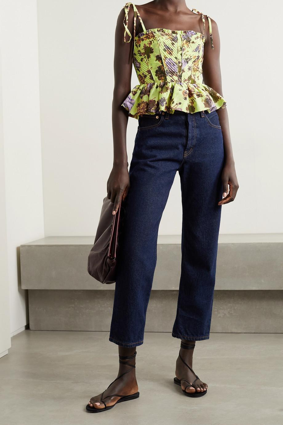 Ulla Johnson Effie pintucked floral-print cotton and silk-blend peplum top