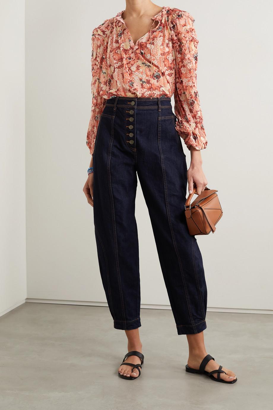 Ulla Johnson Adela floral-print fil coupé silk and Lurex-blend blouse