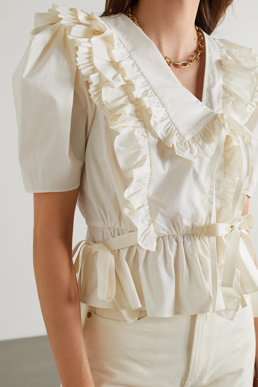 Ulla Johnson Amata ruffled cotton-poplin wrap top