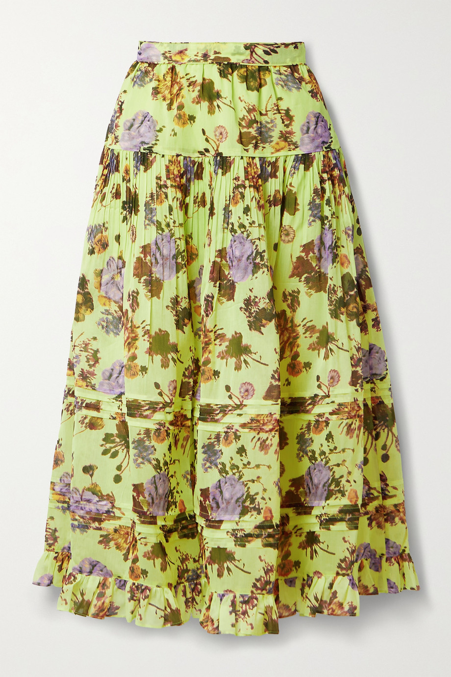 Ulla Johnson Eugenie tiered pleated floral-print cotton and silk-blend midi skirt