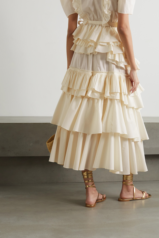 Ulla Johnson Gaelle asymmetric tiered ruffled cotton-poplin skirt