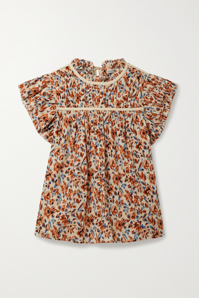 Ulla Johnson ETTA RUFFLED FLORAL-PRINT COTTON-CREPON TOP