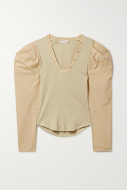 Ulla Johnson Flynn paneled ribbed-knit and cotton-poplin top