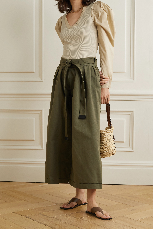 Ulla Johnson Flynn paneled ribbed-knit and cotton-poplin top