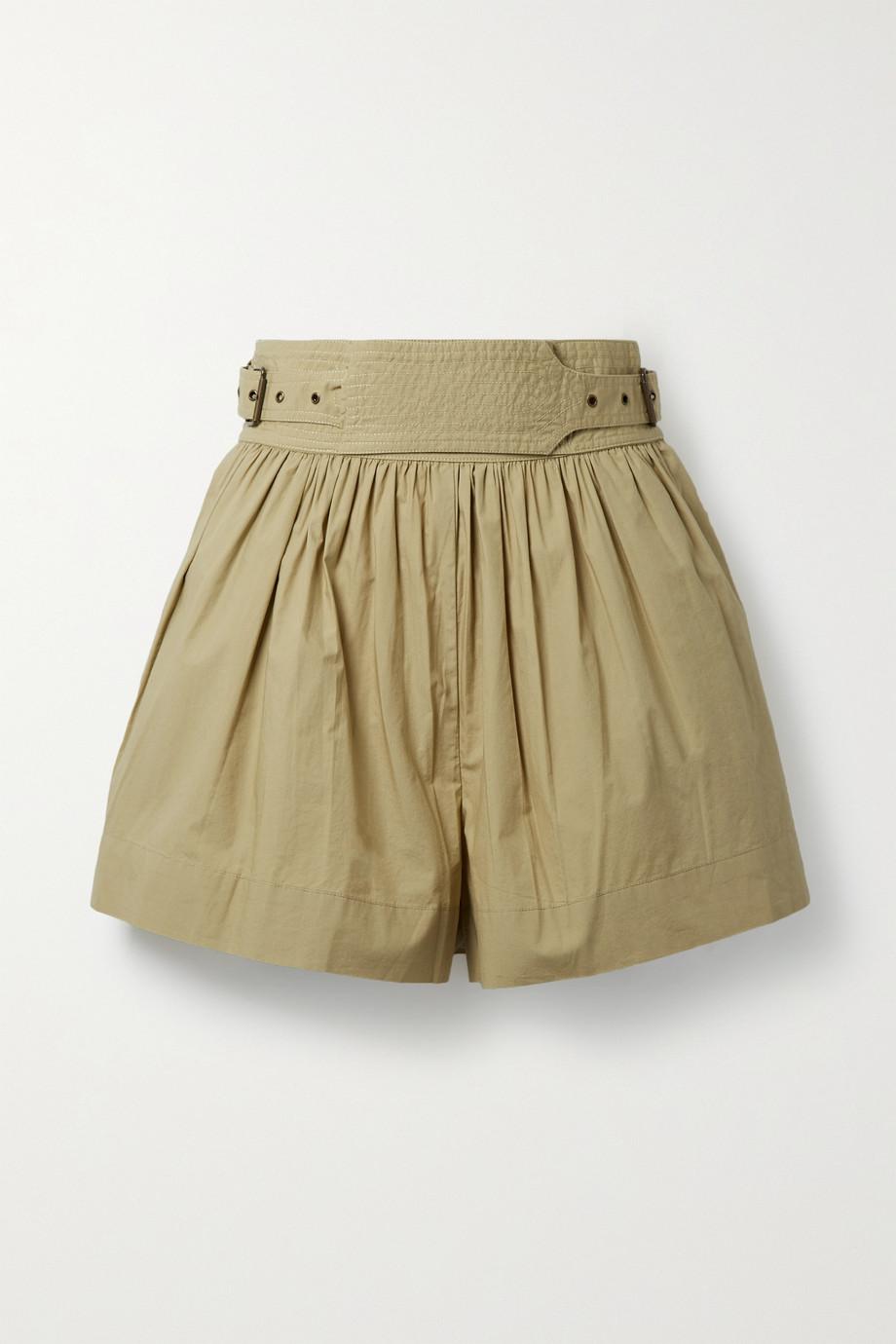 Ulla Johnson Adeline belted cotton-poplin shorts