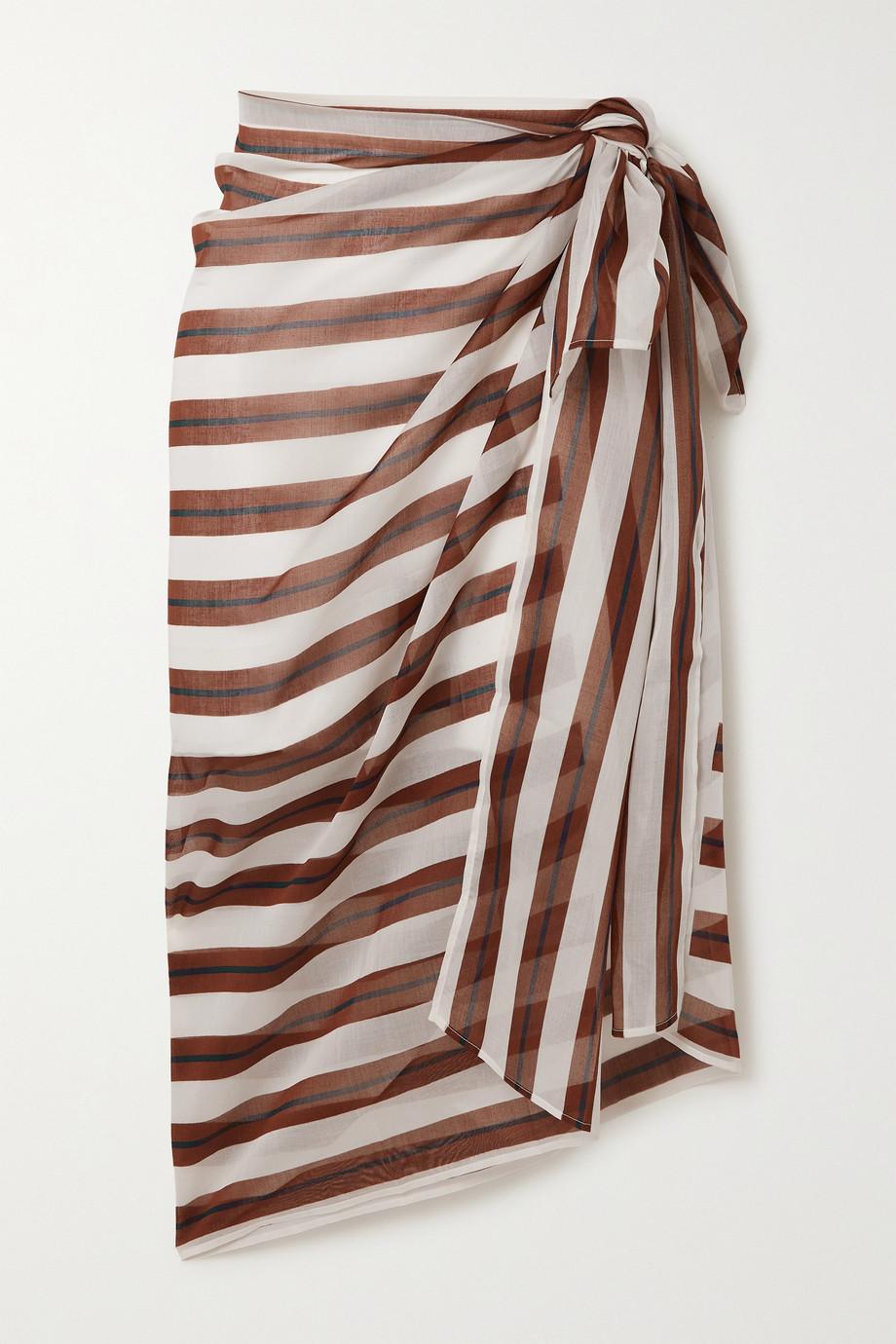 Eres Escale striped cotton-voile pareo