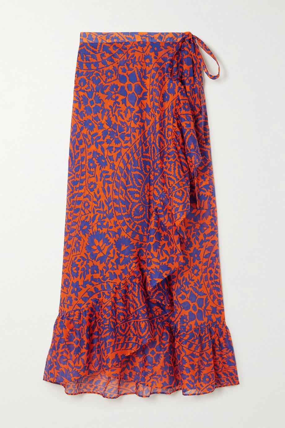 Eres Jaya Wickelrock aus bedrucktem Baumwoll-Voile mit Rüschen
