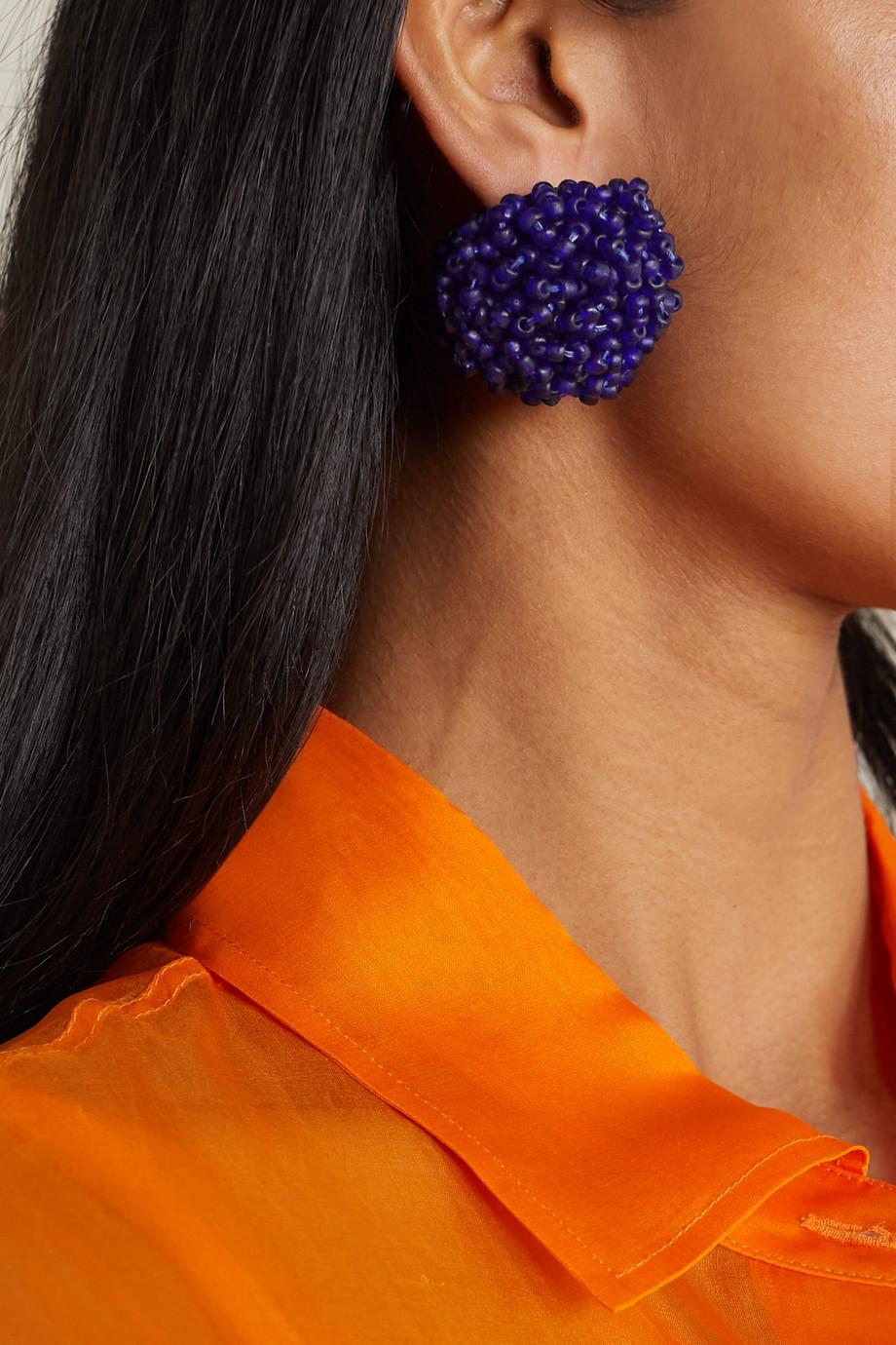 Dries Van Noten Beaded silver-tone earrings