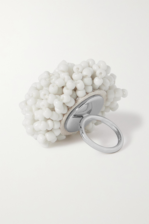 Dries Van Noten Bague en métal argenté et perles