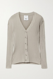 Allude Ribbed cotton and silk-blend cardigan