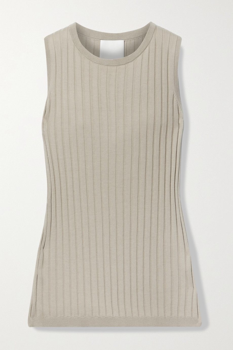 Allude Ribbed cotton and silk-blend tank