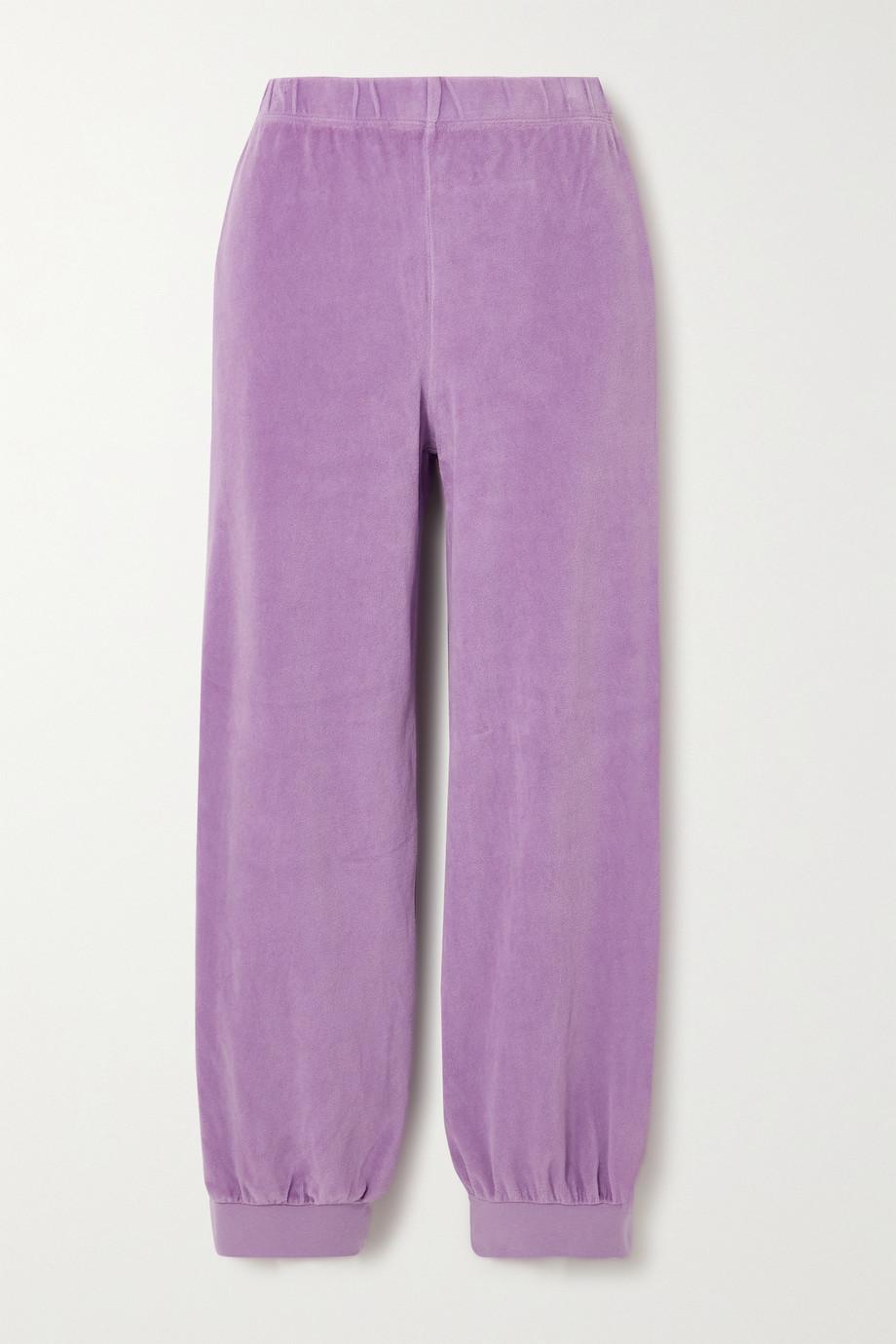 Suzie Kondi Pantalon de survêtement raccourci en velours de coton mélangé