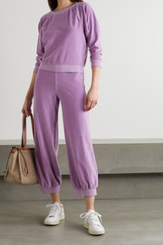 Suzie Kondi Cropped cotton-blend velour track pants