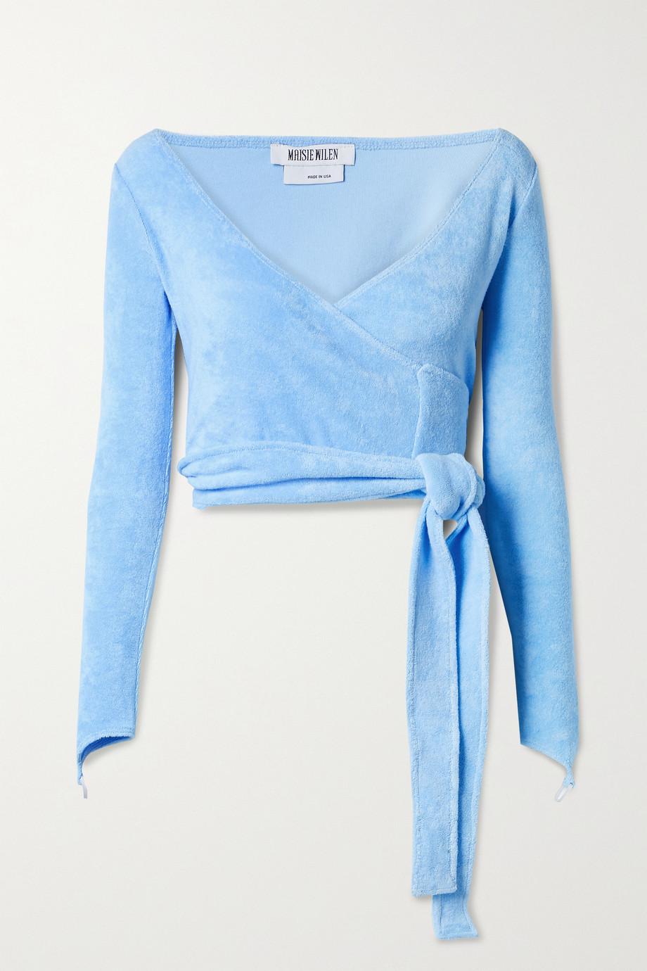Maisie Wilen Dramady cropped cotton-blend terry wrap top