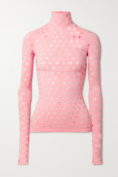 Maisie Wilen Tops PERFORATED STRETCH-JERSEY TURTLENECK TOP