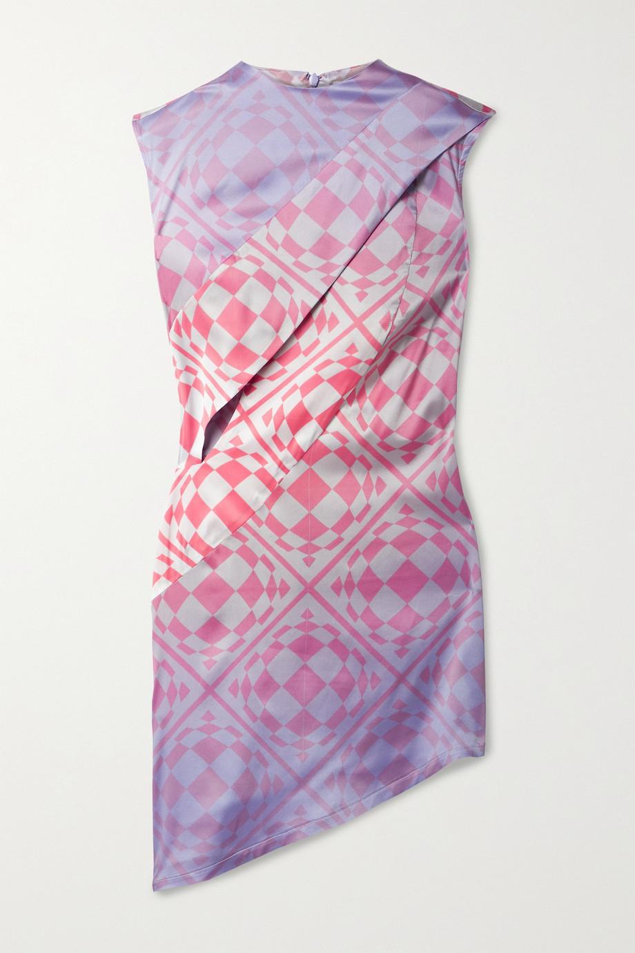 Maisie Wilen Cat Eye asymmetric printed stretch silk-satin mini dress