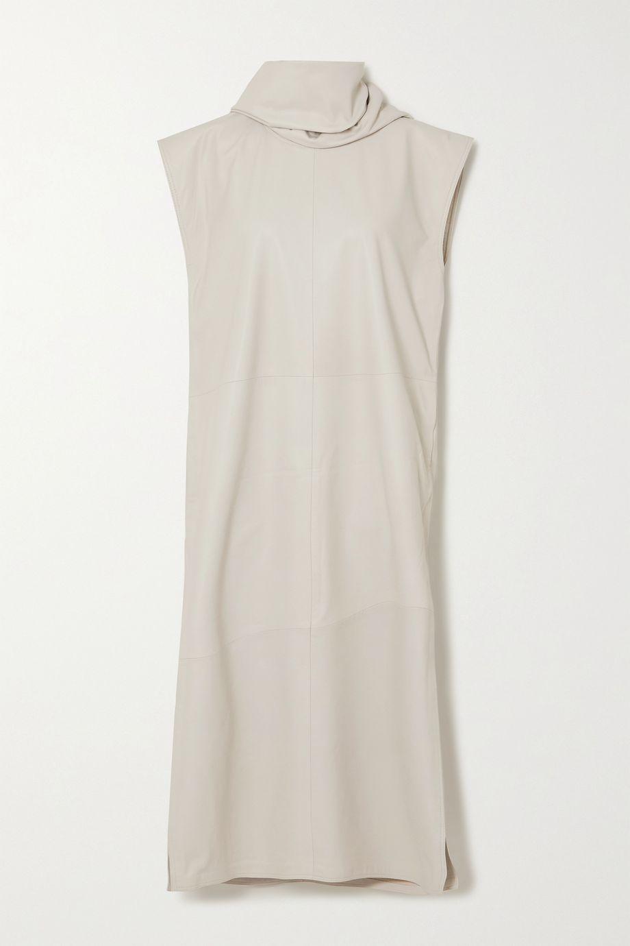LOULOU STUDIO Lebuan Kleid aus Leder mit Schal