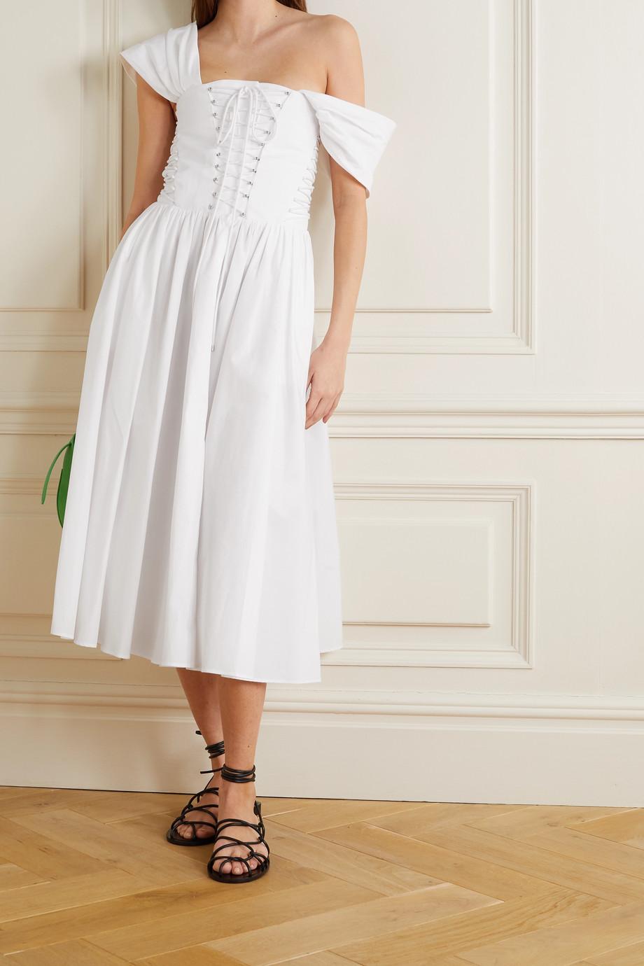 Philosophy di Lorenzo Serafini Lace-up cotton-poplin midi dress