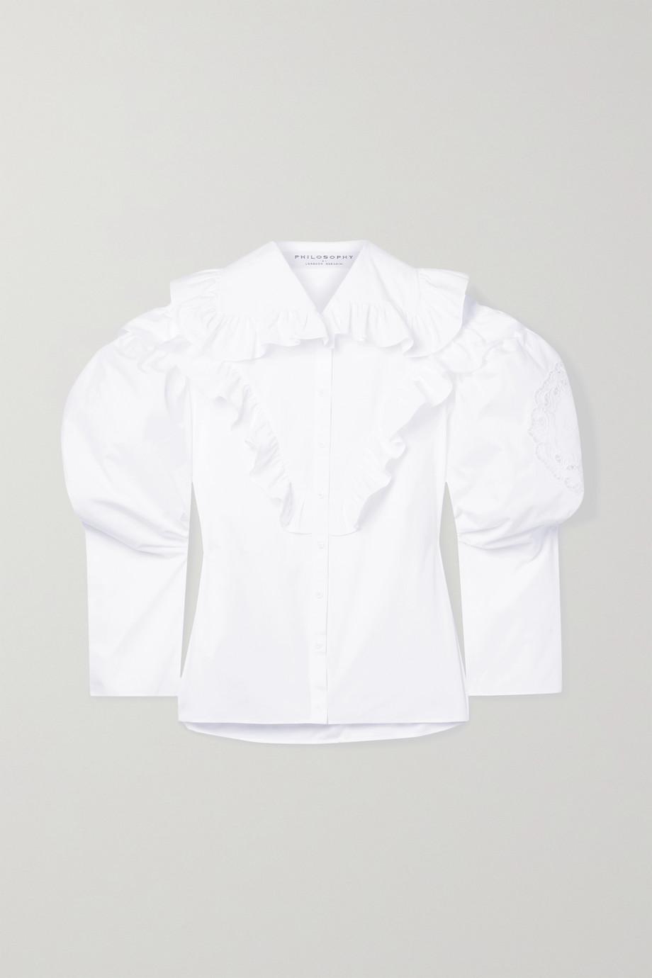 Philosophy di Lorenzo Serafini Ruffled broderie anglaise-trimmed cotton-poplin shirt